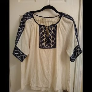🦋Lucky Brand Embroidered Peasant Top